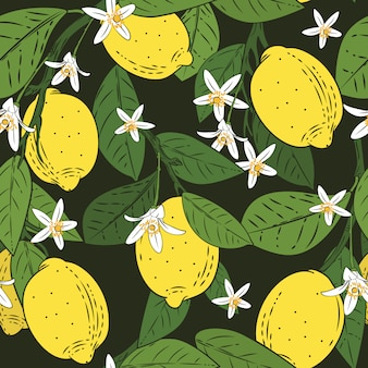Seamless pattern of branches with lemons