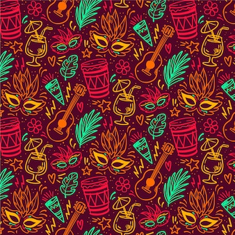 Seamless pattern brazilian carnival with masks drums and guitars