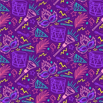 Seamless pattern brazilian carnival with masks and drums