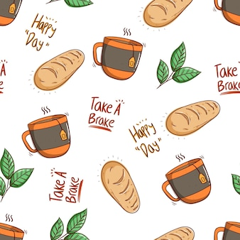 Seamless pattern of bread and a glass of tea with doodle style