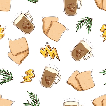 Seamless pattern of bread and ice coffee with hand draw style