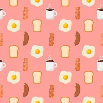 シームレスパターンの朝食。食べ物や飲み物