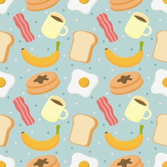 Seamless pattern breakfast. food and drinks isolated on blue background.