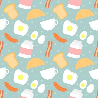 Seamless pattern breakfast food and drinks
