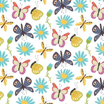Бесшовный фон яркие бабочки цветы