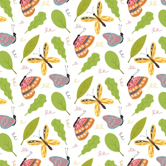 Seamless pattern bright butterflies green leaves