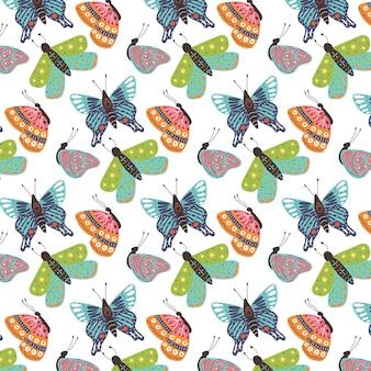 Seamless pattern of bright butterflies