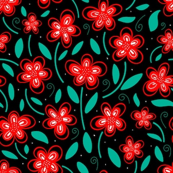 Seamless pattern of bright red flowers with green leaves on a dark background