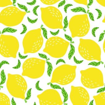 Seamless pattern of bright yellow lemons and leaves hand drawn on a white background
