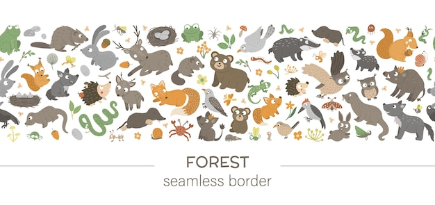 Seamless pattern brush with forest animals and elements on white background.