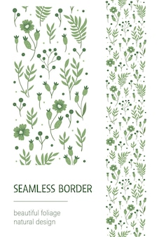 Seamless pattern brush with green leaves, berries, flowers on white background.