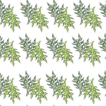흰색 바탕에 원활한 패턴 무리 arugula 샐러드입니다. 양상추와 함께 간단한 장식입니다. 직물에 대한 기하학적 식물 템플릿입니다. 디자인 벡터 일러스트 레이 션.