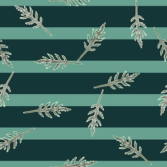 Seamless pattern bunch arugula salad on stripes teal background. modern ornament with lettuce.