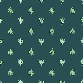 Seamless pattern bunch arugula salad on teal background. minimalistic ornament with lettuce.