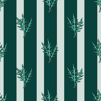 Seamless pattern bunch arugula salad on teal srtipes background. modern ornament with lettuce. geometric plant template for fabric. design vector illustration.
