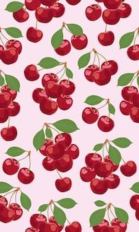 Seamless pattern bunch of cherry fruits