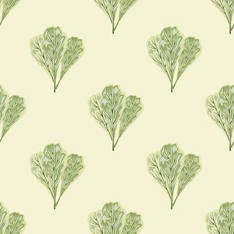 Бесшовный узор букет мангольд салат на бежевом фоне. простой орнамент с салатом.