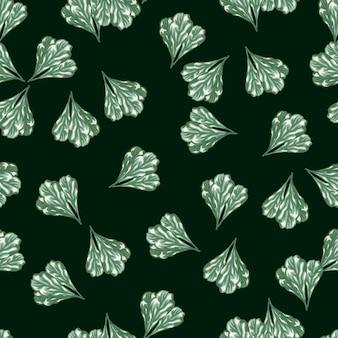 Салат мангольд кучу бесшовные модели на темном фоне чирка. абстрактный орнамент с салатом. случайный растительный шаблон для ткани. дизайн векторные иллюстрации.