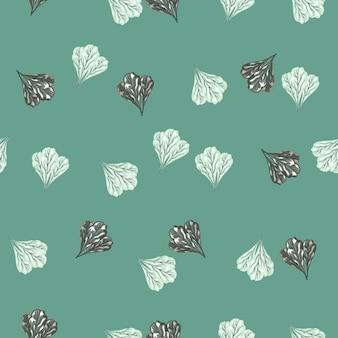 파스텔 청록색 바탕에 매끄러운 패턴의 망골드 샐러드가 있습니다. 양상추와 추상 장식