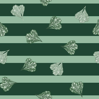 Seamless pattern bunch mangold salad on stripes teal background. abstract ornament with lettuce.