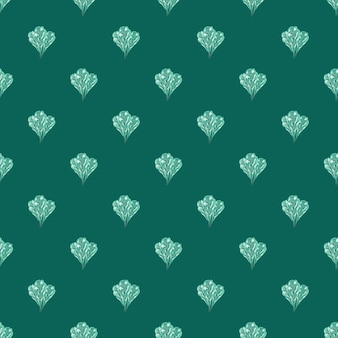 Seamless pattern bunch mangold salad on teal background. abstract ornament with lettuce.