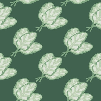 Seamless pattern bunch spinach salad on green background. abstract ornament with lettuce.