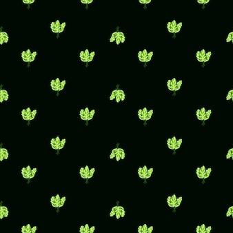 검은 배경에 원활한 패턴 무리 시금치 샐러드입니다. 양상추와 함께 최소한의 장식입니다. 직물에 대한 기하학적 식물 템플릿입니다. 디자인 벡터 일러스트 레이 션.