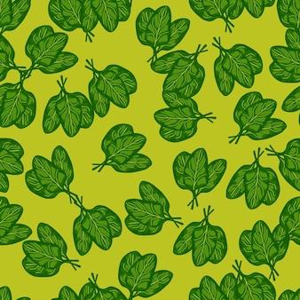 밝은 녹색 배경에 원활한 패턴 무리 시금치 샐러드입니다. 양상추와 함께 현대 장식입니다. 직물에 대한 임의의 식물 템플릿입니다. 디자인 벡터 일러스트 레이 션.