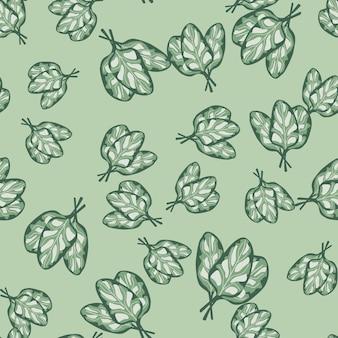 파스텔 배경에 원활한 패턴 무리 시금치 샐러드입니다. 양상추와 추상 장식입니다. 직물에 대한 임의의 식물 템플릿입니다. 디자인 벡터 일러스트 레이 션.