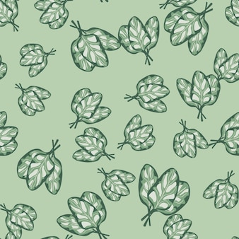 Seamless pattern bunch spinach salad on pastel background. abstract ornament with lettuce. random plant template for fabric. design vector illustration.
