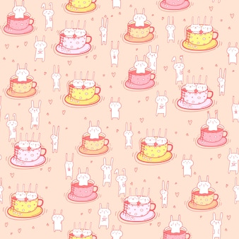 Seamless pattern bunnies in the cup.
