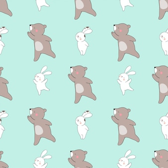 Seamless pattern bunny and bear on green pastel.