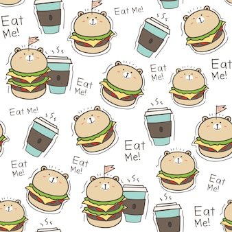 Seamless pattern burger background.