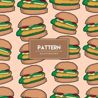 シームレスパターンのハンバーガー食品手描きイラスト