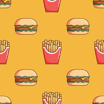 Seamless pattern of burger and french fries with doodle style