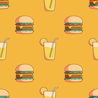 Seamless pattern of burger and lemon juice with doodle style