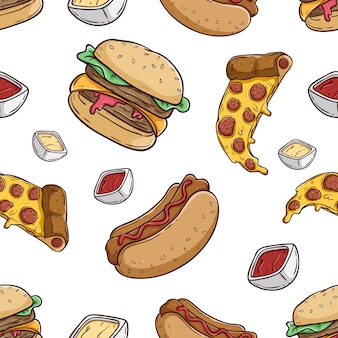 Seamless pattern of burger pizza and hotdog with colored hand drawn style