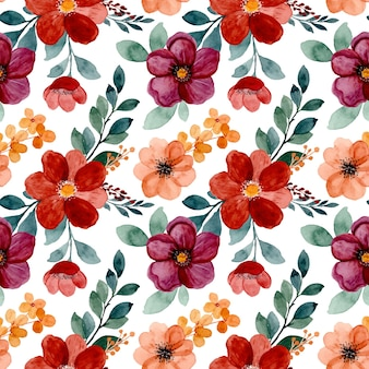 Seamless pattern of burgundy floral watercolor