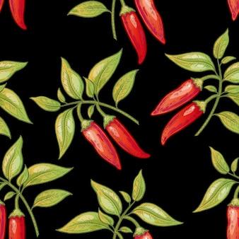 シームレスパターン。黒の背景に赤唐辛子の茂み。包装、紙、壁紙、生地、繊維のイラスト。