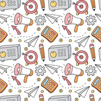 Seamless pattern of business and finance elements