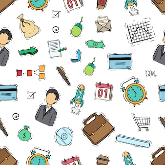 Seamless pattern of business icons with colored doodle style