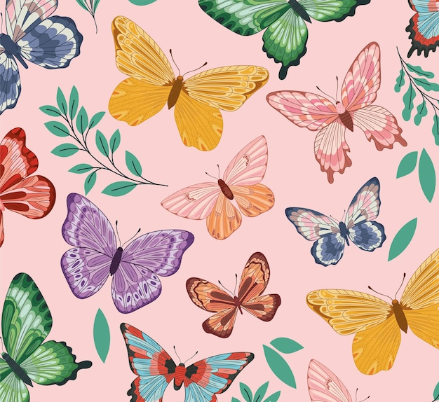 Seamless pattern of butterflies with leaves