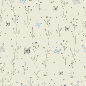 원활한 패턴 나비와 잎