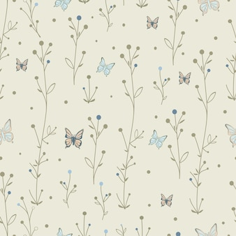 Seamless pattern butterfly and leaves