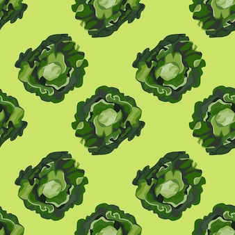 Бесшовный узор баттерхед салат на пастельно-зеленом фоне. современный орнамент с салатом.