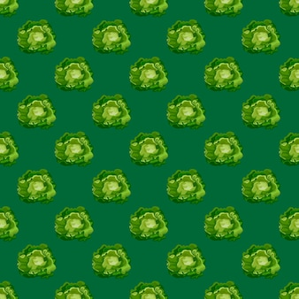 Seamless pattern butterhead salad on teal background. minimalistic ornament with lettuce.