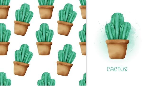 Бесшовные кактус и поздравительная открытка.