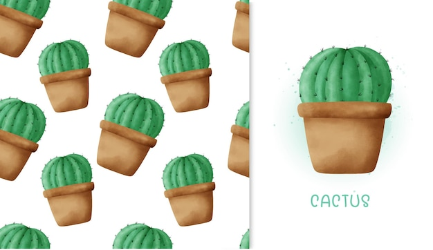 Seamless pattern cactus and greeting card .