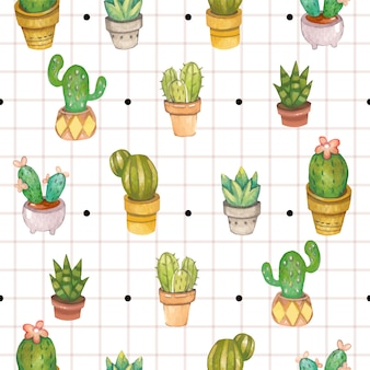 The seamless pattern of cactus in the plant pot with black dots