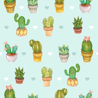 Seamless pattern of cactus in the plant pot with the heart